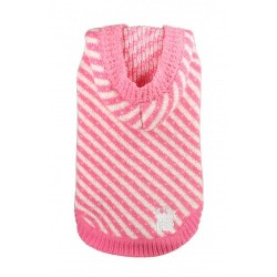 Candy Striped Hoodie Pink