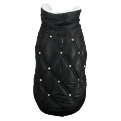 Rhinestone Puffer Vest Black