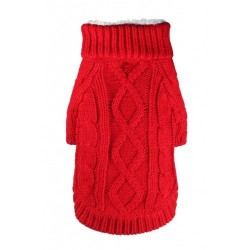 Sherling Cable Knit Red