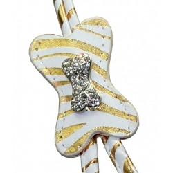 Zebra Bone Gold Charm Step in Harness
