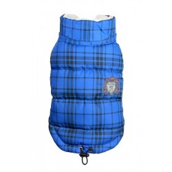 Plaid Sherling Puffer Vest Blue
