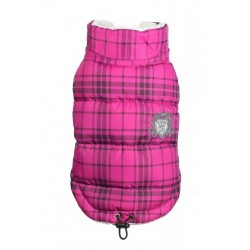 Plaid Sherling Puffer Vest Pink