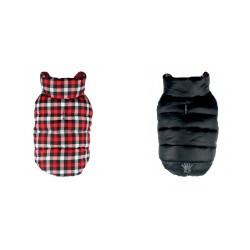 Gingham Reversible Puffer Vest Black