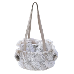 Paiette-Lace Net Bag Cream