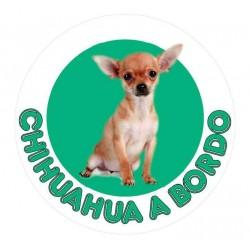 Adesivo tondo Chihuahua a Bordo verde