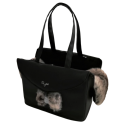 Fur Passenger Bag Rigid-Black Eco+Husky eco fur