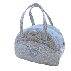 Cream Payette lace cuty bag+ heart
