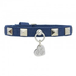 STUDS COLLAR BLUE JEANS/SILVER