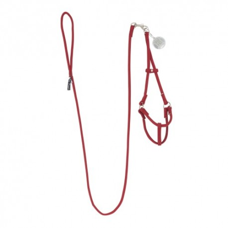 MICRO-SUEDE STEP-IN HARNESS W/ DETACHABLE LEASH RED