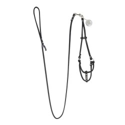 SOFT FAUX LEATHER STEP-IN HARNESS W/ DETACHABLE LEASH BLACK