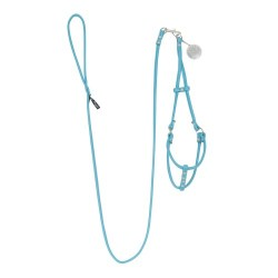SOFT FAUX LEATHER STEP-IN HARNESS W/ DETACHABLE LEASH TURQUOISE