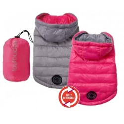 Reversible Puffer Coat with Travel Pouch Pink/Grey