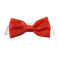 Bow Tie Collar Red Satin