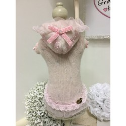 Pink & Sparkling Hood in Lace Dress