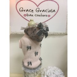 Pink & Grey Hood in Lace Pull